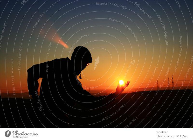 Sunset Silhouette Himmel Mann Natur blau Sonne Ferien & Urlaub & Reisen Winter schwarz Einsamkeit Landschaft Freiheit orange Zufriedenheit Verlauf