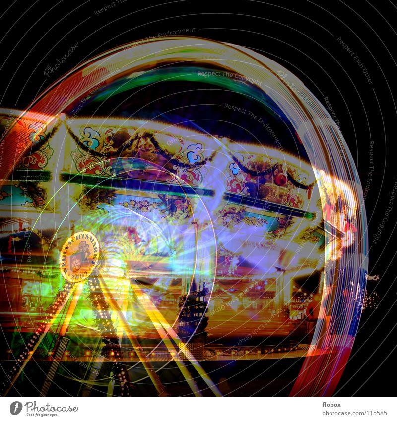 Lomo Cross Fake Freude Farbe Lampe Feste & Feiern Lomografie groß Kreis rund Kitsch Stahl Jahrmarkt analog drehen Wahrzeichen Markt Doppelbelichtung