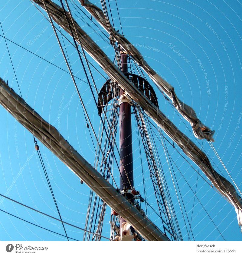 takelage Himmel Meer blau Ferien & Urlaub & Reisen Wasserfahrzeug Wind Seil fallen Segeln Schifffahrt Strommast Fernweh Wassersport Pirat Takelage