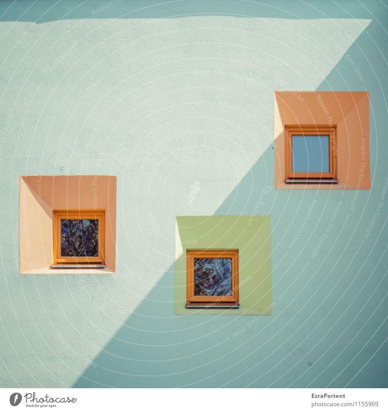 7,3 Design Häusliches Leben Haus Stadt Bauwerk Gebäude Architektur Mauer Wand Fassade Fenster Stein Beton Glas Linie blau grün orange ästhetisch Farbe