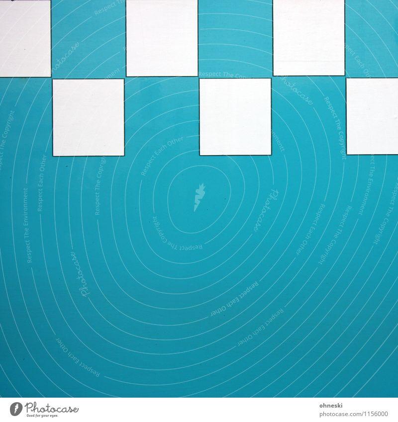 kariert Design Quadrat Metall Linie Netzwerk türkis Strukturen & Formen Farbfoto Außenaufnahme abstrakt Muster Textfreiraum links Textfreiraum rechts