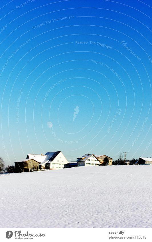 kaltes Blau Himmel blau Winter ruhig Haus kalt Schnee Dorf Mond Himmelskörper & Weltall