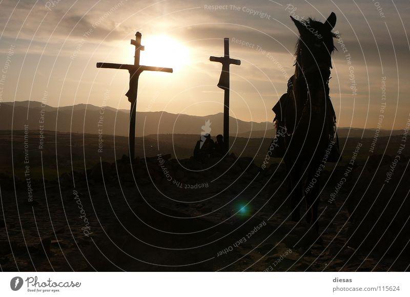Wild West Amen Pferd Sonnenuntergang ruhig Religion & Glaube Südamerika Rücken Landschaft Frieden