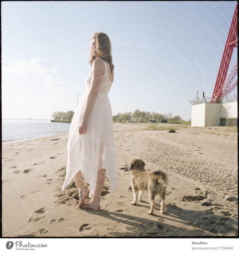 bin eben mit dem Hund raus... Jugendliche schön Wasser Junge Frau Erholung Landschaft Tier Strand Erwachsene Freiheit Sand Idylle Körper Fröhlichkeit ästhetisch