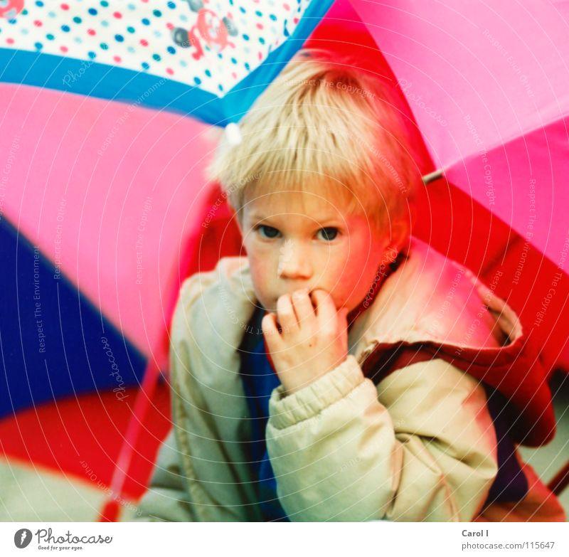 Schirmhütte Kind Mädchen weiß blau Freude Gesicht Auge gelb Spielen Denken Mund blond klein rosa Nase Finger