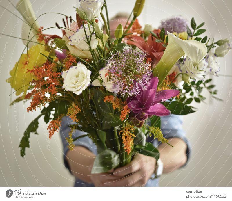 Muttertag schön Flirten Feste & Feiern Hochzeit Frau Erwachsene Mann Familie & Verwandtschaft Paar Partner Pflanze Blume Rose Tulpe Freude Liebe Blumenstrauß