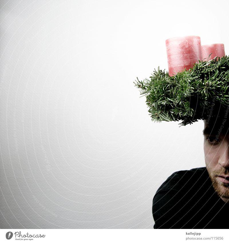 800_FROHES FEST! Mann Weihnachten & Advent weiß grün rot Winter Gesicht schwarz Farbe Schnee Gefühle Kopf Lampe Religion & Glaube Feste & Feiern Mund