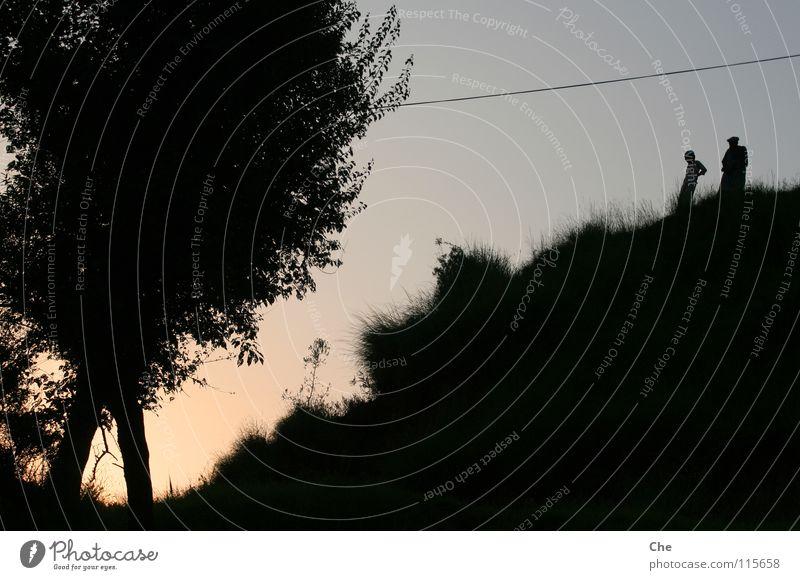 Der alte Mann und sein Enkel Baum Blatt schwarz dunkel Gras hell Kabel Asien Publikum Langeweile gebeugt Pakistan ausgefranst