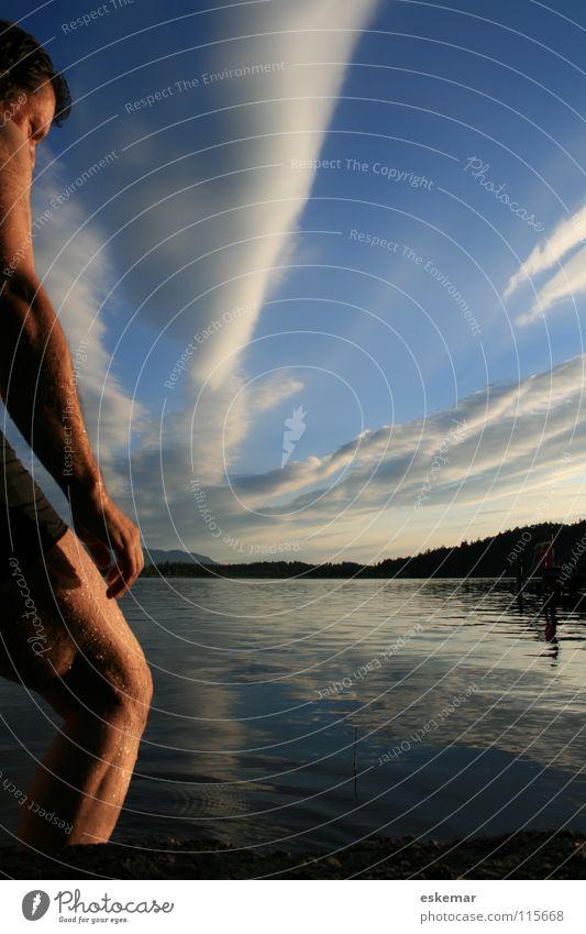 abends am See Mann Ferien & Urlaub & Reisen schön Sommer Wolken schwarz Erholung Ferne Haare & Frisuren Beine braun Schwimmen & Baden Deutschland gehen Arme