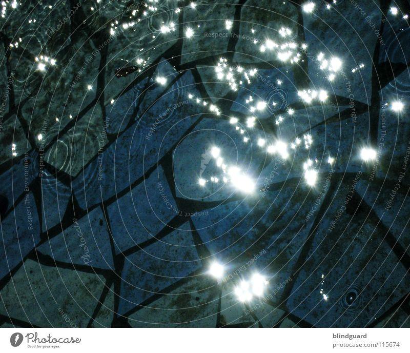 Glitzern Licht Mosaik dunkel fließen nass Langzeitbelichtung Wasser Meer water dark sun light Reflexion & Spiegelung reflection Stern (Symbol) Sonne hell Lampe