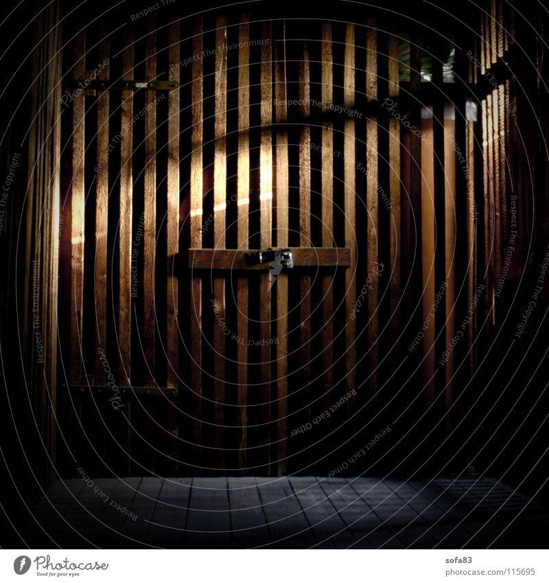 nachbars keller dunkel Holz Angst Tür geschlossen gefährlich bedrohlich Burg oder Schloss verfallen Hütte Panik Keller Dachboden Holztür