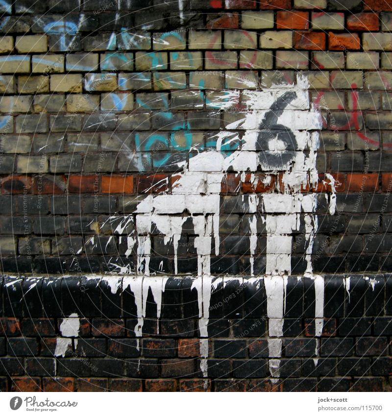 Flatsch! (6) Subkultur Mauer Backstein Graffiti Linie ästhetisch trashig weiß einzigartig Kreativität Fleck Oberfläche Farbstoff zähflüssig fließen abwärts