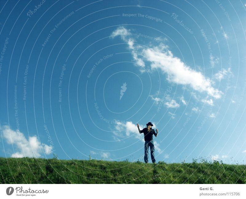 the fool on the hill Mensch Himmel Mann Jugendliche blau grün Sommer Wolken schwarz Wiese springen Linie blond Arme Schönes Wetter frisch