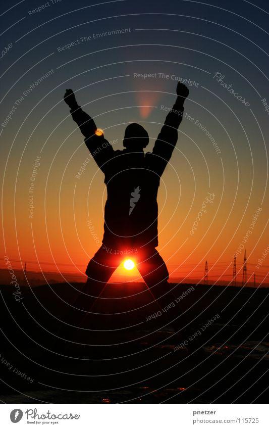 Wuhuu Sonnenuntergang schwarz Applaus Himmel Freude Erfolg Silhouette sun Freiheit freedom sky