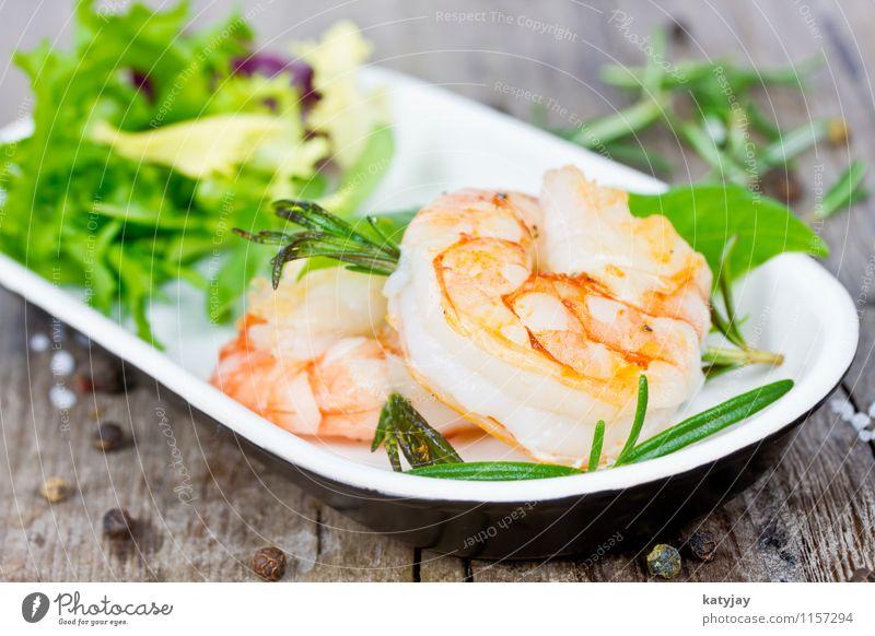 Garnelen gambas gebraten Scherengarnelen Schalenweichtier frisch kochen & garen Putzergarnele Kräuter & Gewürze Meeresfrüchte Rosmarin Salat Salatbeilage