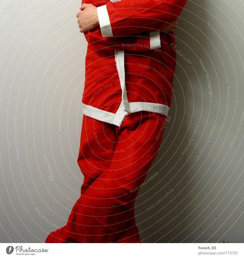Kopfloser Weihnachtsmann Mensch Mann Weihnachten & Advent weiß Hand rot Freude Wand Mauer Religion & Glaube grau Beine Feste & Feiern Zusammensein Arme
