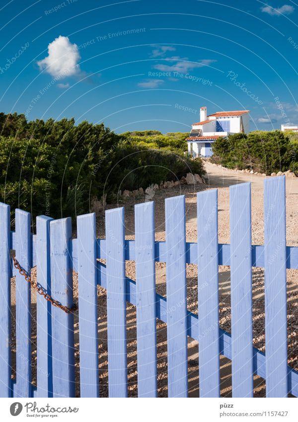 Ferienhaus Himmel Natur Ferien & Urlaub & Reisen blau grün Sommer Sonne Erholung Landschaft Wolken Freude Haus Wärme Holz Glück Stein