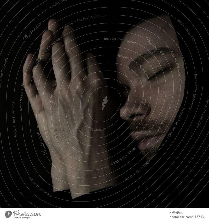 stille nacht Mann Hand Gesicht Leben Tod Religion & Glaube träumen Mund Nase schlafen Bart Gebet Geister u. Gespenster Geistlicher heilig Wimpern
