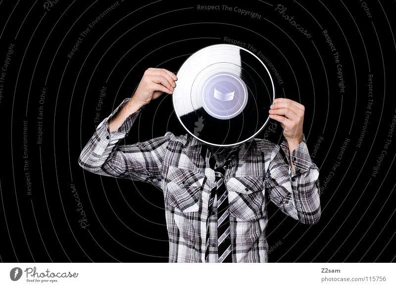 plattenkopf II Mensch Mann Hand alt Gesicht Stil Musik Kopf Arme hoch verrückt modern stehen violett Spuren