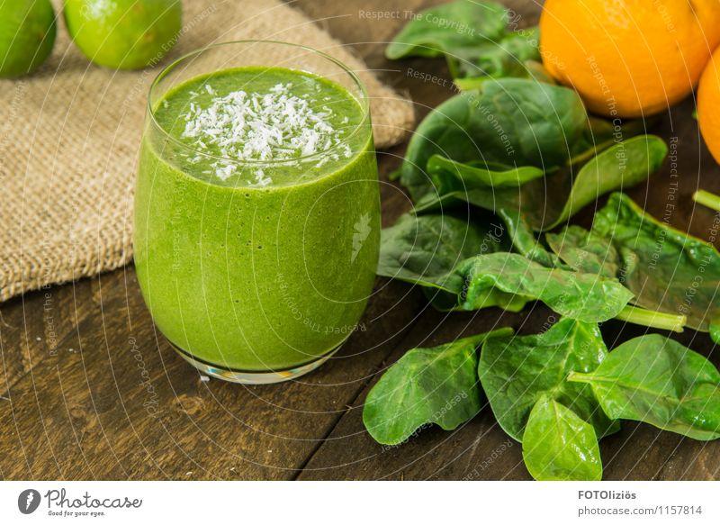 Green Smoothie Lebensmittel Gemüse Salat Salatbeilage Frucht Spinat Spinatblatt Kokosnuss Orange Limone Bioprodukte Vegetarische Ernährung Diät Fasten