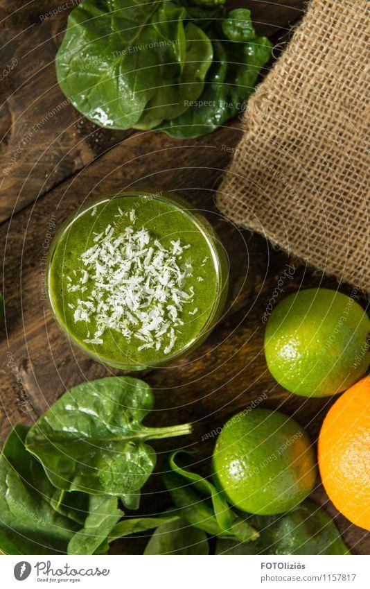 Spinatsaft Lebensmittel Gemüse Salat Salatbeilage Frucht Orange Limone Kokosnuss Geschirr Becher Glas Lifestyle Gesundheit Gesunde Ernährung Fitness Übergewicht