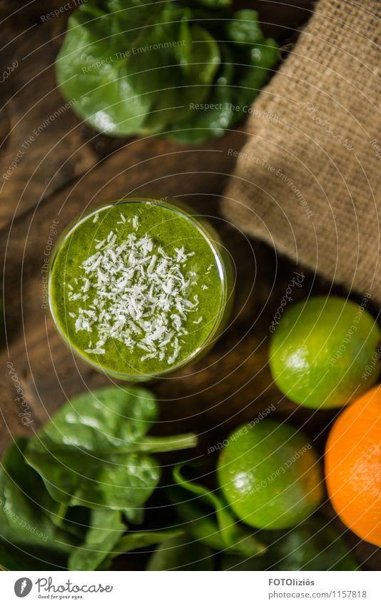 Green Smoothie Lebensmittel Gemüse Salat Salatbeilage Frucht Orange Milchshake Vitamin Limone Kokosnuss Getränk Becher Glas Lifestyle schön Gesundheit