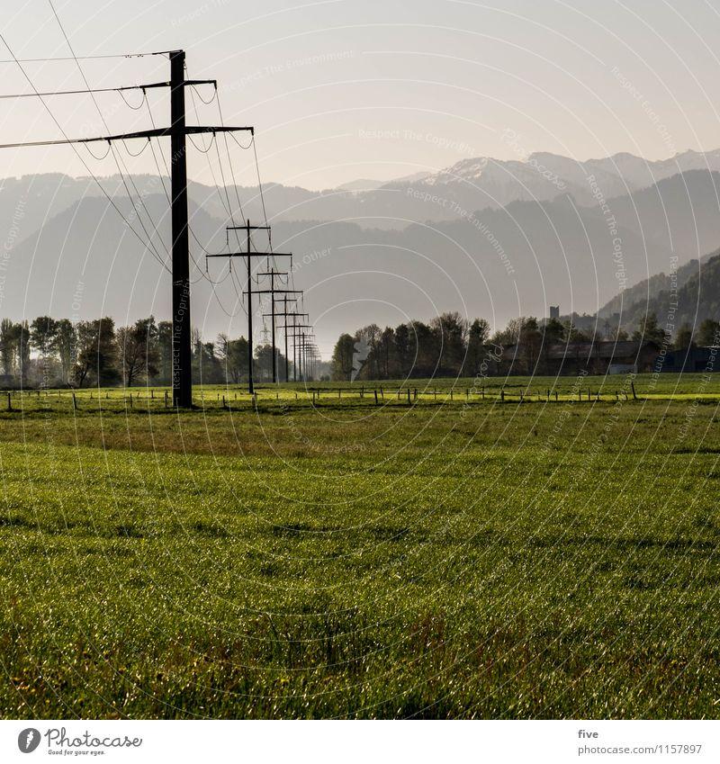 T Umwelt Natur Landschaft Himmel Sommer Wetter Baum Gras Wiese Feld Hügel Alpen Berge u. Gebirge Unendlichkeit Wärme Strommast Farbfoto Außenaufnahme Morgen