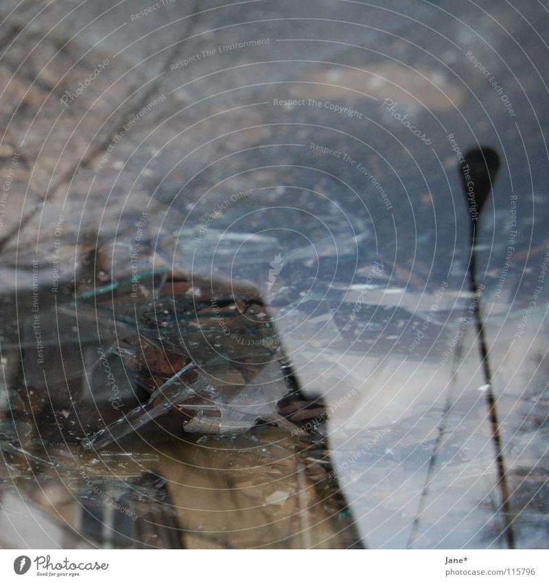broken fragments Scherbe kaputt Fenster grau kalt Reflexion & Spiegelung Baum Himmel Haus Laterne Quadrat Mittelformat chaotisch Winter Architektur shards