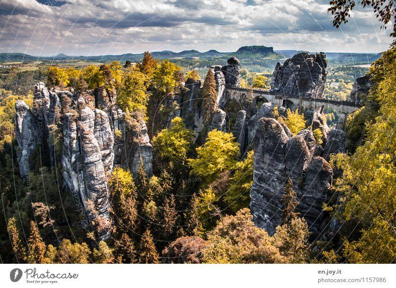 Schönes Deutschland Himmel Natur Ferien & Urlaub & Reisen grün Sommer Baum Landschaft Wolken Ferne Wald Herbst Wege & Pfade Felsen Horizont Tourismus wandern