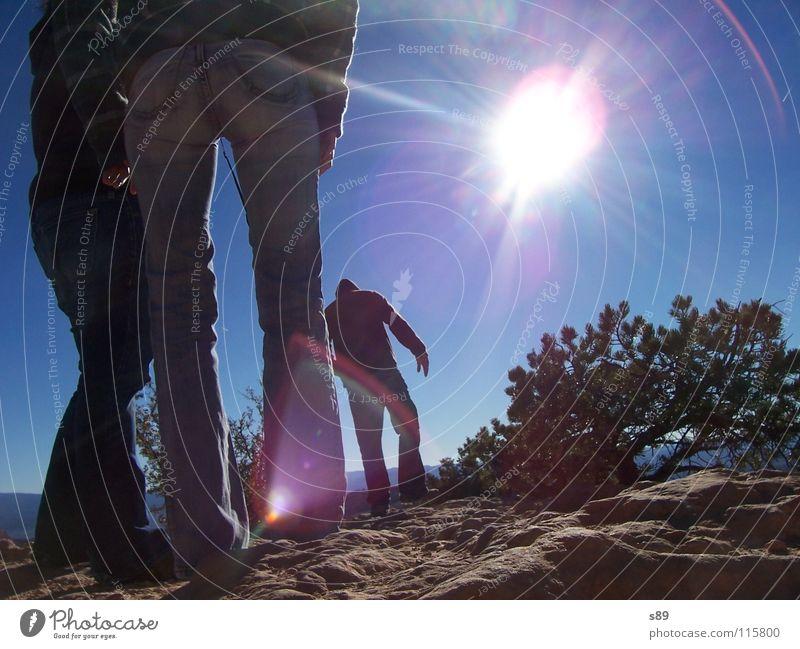 gegen die Sonne gehen wandern trocken Sträucher Ferien & Urlaub & Reisen Wüste gegen die Sonner