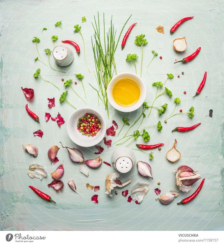 Öl, frische Kräuter und Gewürze Gesunde Ernährung gelb Leben Stil Hintergrundbild Foodfotografie Lebensmittel Design Kochen & Garen & Backen Scharfer Geschmack