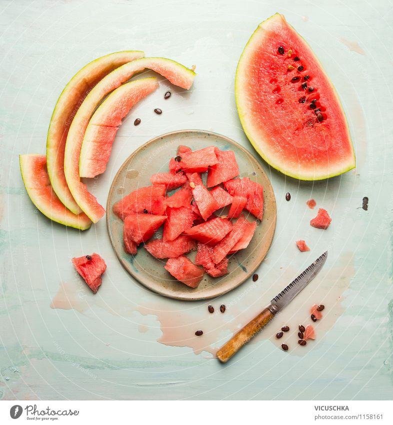 Sommergeschmack - Wassermelone Lebensmittel Frucht Dessert Ernährung Bioprodukte Vegetarische Ernährung Diät Saft Geschirr Teller Messer Appetit & Hunger Durst