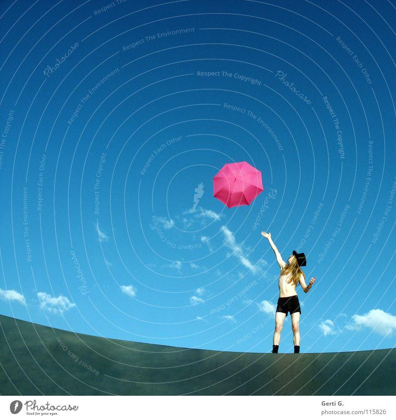 reachable Mensch Himmel Jugendliche Mann blau Sommer weiß Hand Junger Mann Wolken ruhig Freude Bewegung fliegen rosa blond