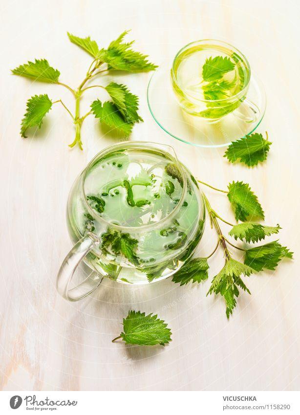 Kräutertee mit Brennnessel Natur Pflanze Gesunde Ernährung Stil Holz Gesundheit Design frisch Tisch Getränk Kräuter & Gewürze heiß Tee Tasse Diät Teepflanze