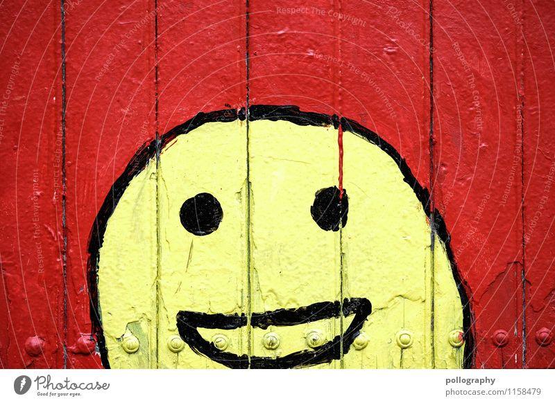 FR UT | Lustige Runde rot Freude Gesicht gelb Wand Gefühle Graffiti Glück lachen Stimmung Zufriedenheit Fröhlichkeit Lebensfreude Zeichen malerisch