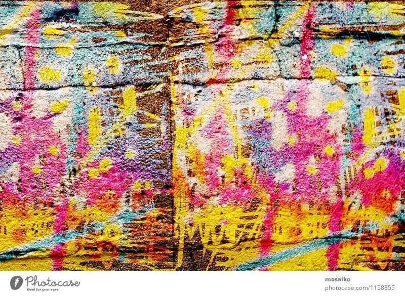 Graffiti Design Dekoration & Verzierung Kunst Kunstwerk Subkultur Stadt Menschenleer Mauer Wand Stein Coolness trendy mehrfarbig innovativ Inspiration Lebewesen