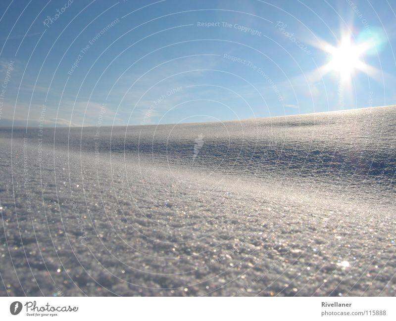 Winterlandschaft Schneelandschaft Wolken kalt glänzend Landschaft Sonne Himmel Schneeperlen Eis sanft