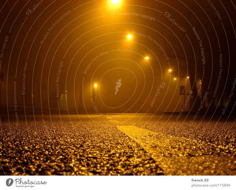Kalle's Welt Nacht Nachtaufnahme Langzeitbelichtung Asphalt Beton Laterne Lampe Telefonzelle Bushaltestelle Augsburg Nebel Licht leer Verkehr Fahrbahn weiß gelb