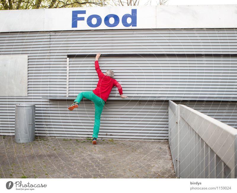 Hunger Ernährung Junger Mann Jugendliche Erwachsene 1 Mensch 30-45 Jahre 45-60 Jahre Kiosk Container Metall ästhetisch außergewöhnlich frech lustig sportlich