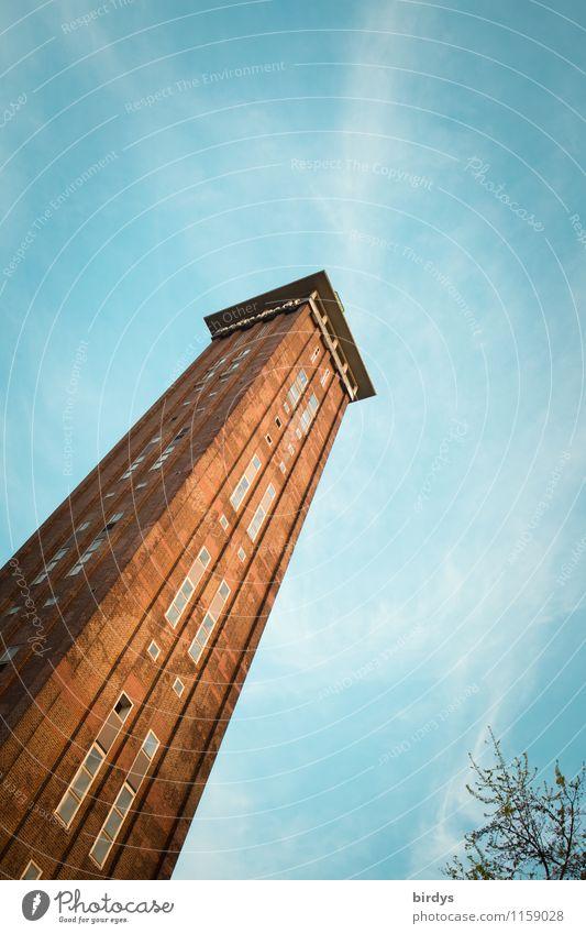 Messeturm Köln-Deutz Himmel Wolkenloser Himmel Schönes Wetter Ast Deutschland Hochhaus Turm Sehenswürdigkeit ästhetisch eckig historisch hoch positiv blau rot