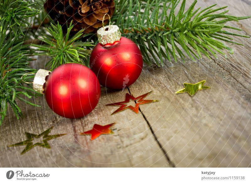 Christbaumkugeln Weihnachten & Advent Weihnachtsbaum Dekoration & Verzierung Dezember Feste & Feiern festlich Fröhlichkeit Postkarte Stern (Symbol) Tanne