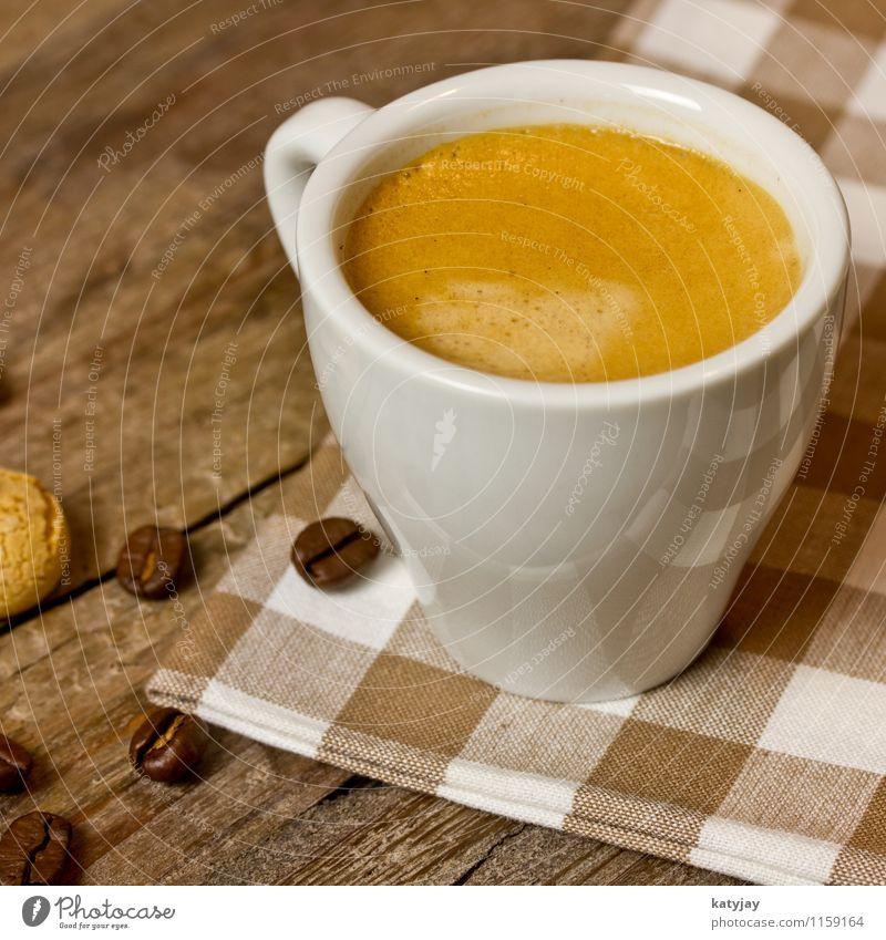 Espresso Energie genießen Getränk Kaffee heiß Café Frühstück reizvoll Geschmackssinn Holztisch aromatisch rustikal Fairness Bohnen Kaffeetasse