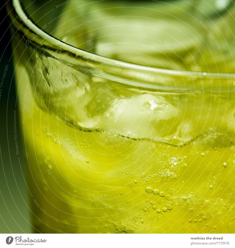 kühles Nass III gelb kalt Eis orange Glas Getränk trinken Flüssigkeit Alkohol Luftblase Am Rand Erfrischung Durst kühlen Limonade Eiswürfel
