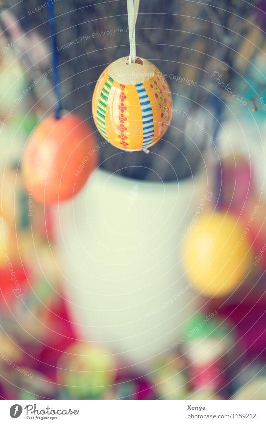 Ostereier Ostern gelb orange Fröhlichkeit Eierschale mehrfarbig Blumenstrauß Dekoration & Verzierung Farbfoto Innenaufnahme Menschenleer Tag
