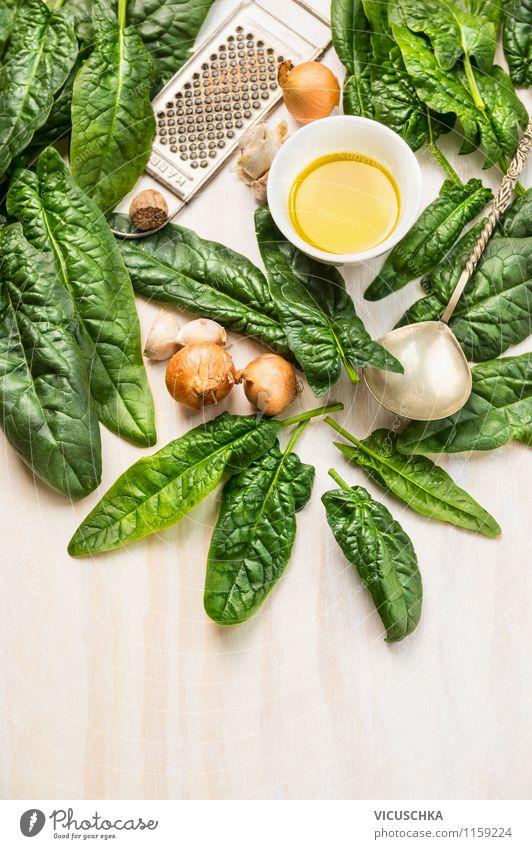 Frischer Spinat fürs Kochen zubereiten Gesunde Ernährung Leben Stil Essen Hintergrundbild Foodfotografie Lebensmittel Design Kräuter & Gewürze Gemüse