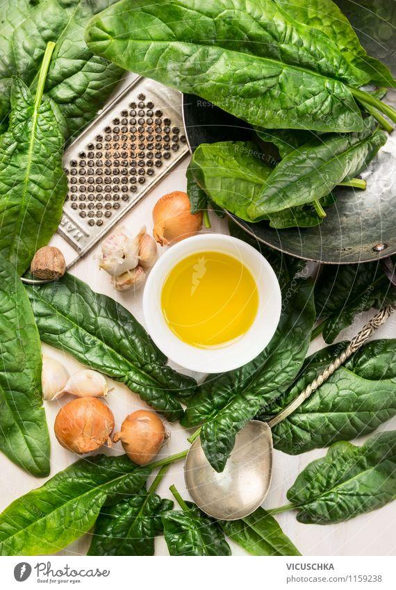 Gesund essen: Spinat und Zutaten Natur alt Gesunde Ernährung Stil Hintergrundbild Lebensmittel Lifestyle Design Kräuter & Gewürze Küche Gemüse Bioprodukte