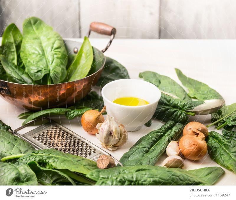Rustikale Küche - Spinat Zubereiten Lebensmittel Gemüse Salat Salatbeilage Kräuter & Gewürze Öl Ernährung Mittagessen Abendessen Bioprodukte