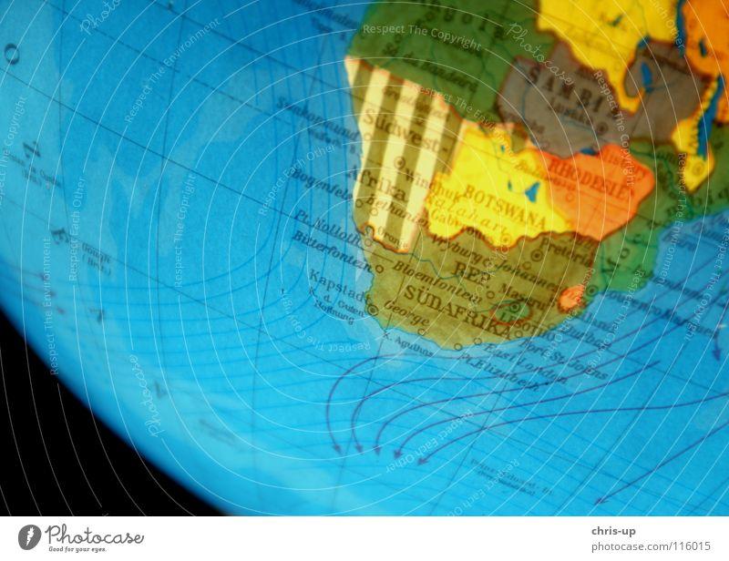 Südafrika Globus Weltkarte Kontinente Landkarte Strömung Planet Drehung drehen Unschärfe Afrika Amerika Europa Asien Meer Atlantik Pazifik Bewegungsunschärfe