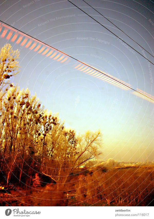Bahnfahrt nach Norden 1 Himmel Baum Winter Ferien & Urlaub & Reisen Lampe Landschaft Eisenbahn fahren Sträucher Raureif Durchgang Oberleitung unreif