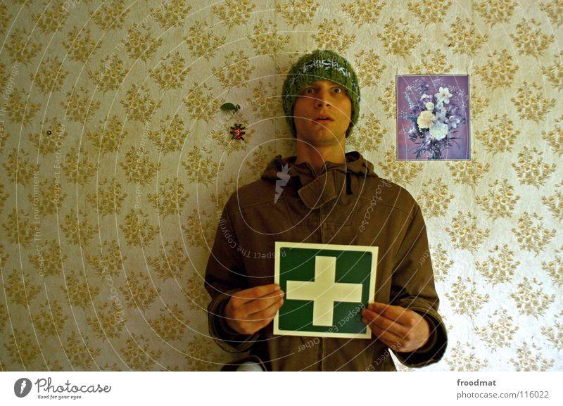 Mutschekibchen Blume grün Hilfsbereitschaft lustig Deutschland Schilder & Markierungen Rücken retro Insekt Müll Tapete trashig Mütze Hinweisschild dumm